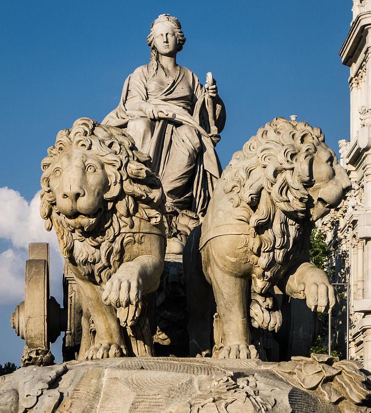 madrid, lions, stone, goddess, building, light, clouds