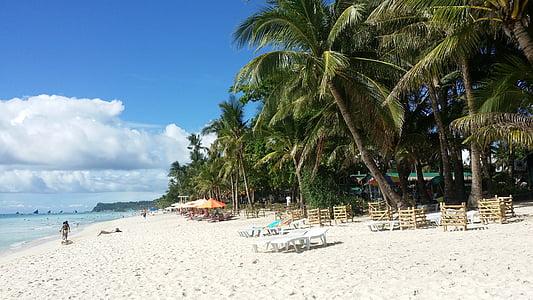 Boracay, paplūdimys, Filipinų Respublika, kelionės, baltas paplūdimys, poilsio zonoje, jūra
