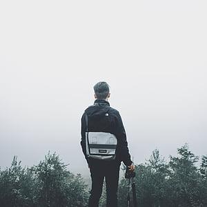lidé, muž, Guy, sám, cestování, vrchol, Hora