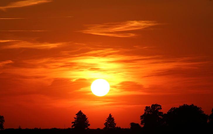 solnedgång, solen, abendstimmung, nedgående solen, Sky, Afterglow, naturen