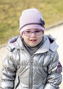 kid, little girl, nice, smile, glasses