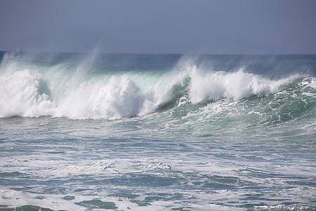 στη θάλασσα, κύμα, νερό, surf, δύναμη στη φύση, κίνηση, φύση