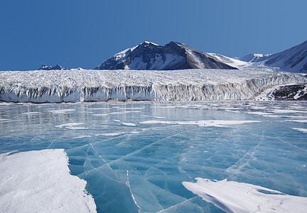 fryxellsee, Antarktis, blå is, sjön, bergen, glaciär, vatten