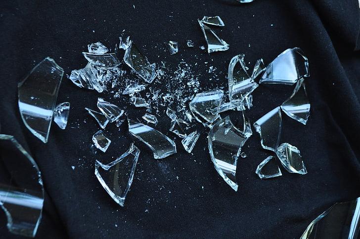 vidres trencats, destrossat, vidre, trencat, cruixit, descans, peces