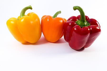 paprika, dzeltena, oranža, sarkana, dārzeņi, pārtika, saldie pipari