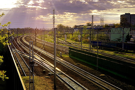 järnväg, järn, Rails, spår, stationen, transport, tåg