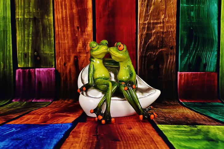 amants, granotes, divertit, parell, l'amor, valent, granota