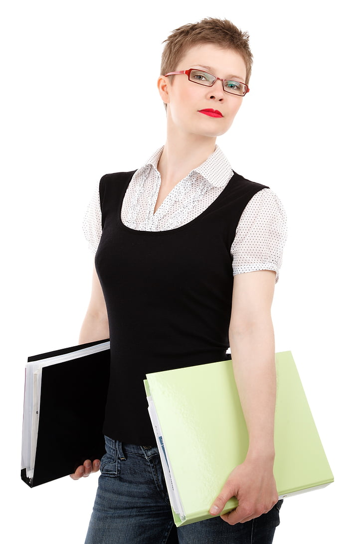 woman, red, framed, eyeglasses, carrying, two, binder