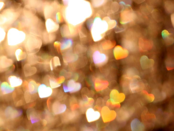 bokeh, oskärpa, lampor, bakgrund, hjärtan, glans, glitter
