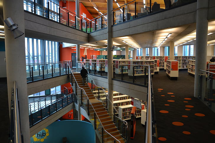 library, books, floors, stairs, school, education, literature