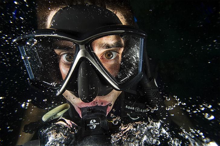 bussejador, home, nedador, l'aigua, ulleres, l'oxigen, close-up