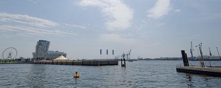 Hamburg, Harbour city, Port, építészet, város, Elba, épület