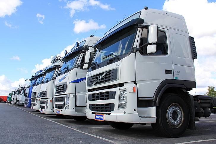 truck, white, vehicle, transportation, freight, transport, white van