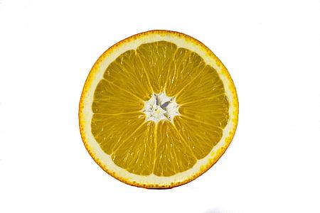 fruita, fons blanc, macro, taronja, tallar, llimona, cítrics