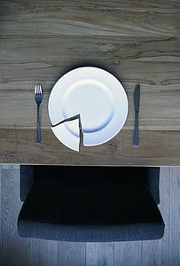 plat trencat sobre una taula de fusta, placa, Xina, porcellana fina d'OS, fusta, trencat, taula