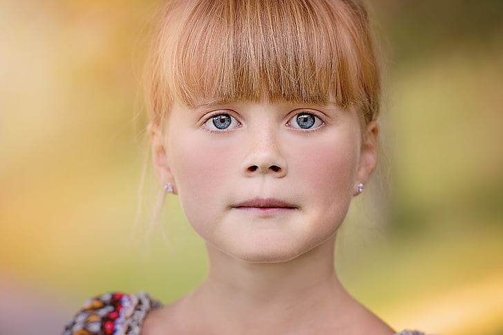 person, human, child, girl, face, blond, view