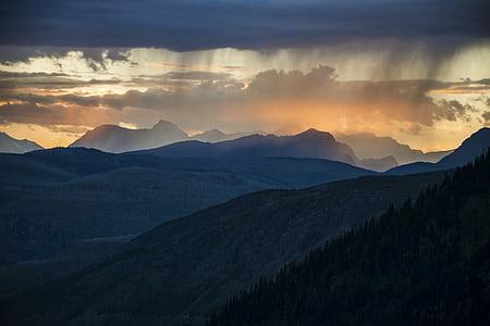 paisatge, posta de sol, escèniques, Glacera del parc nacional, Montana, EUA, núvols
