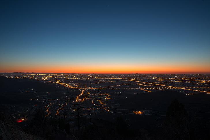 ciutat, Alba, capvespre, llums, cel, Alba, posta de sol