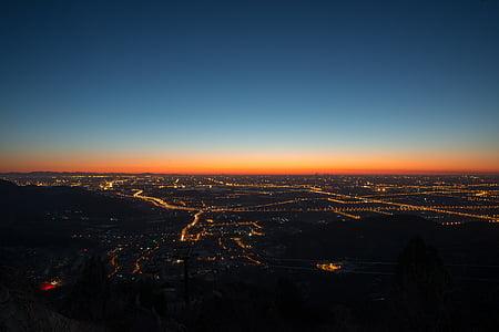 città, Alba, crepuscolo, luci, cielo, Alba, tramonto