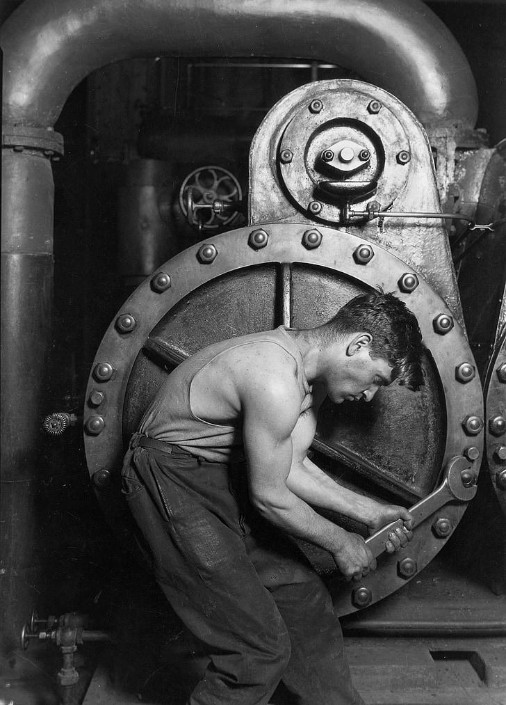 mehhaanik, mehaanika, tööstus, jõu, lihased, töötajate, elektrijaama