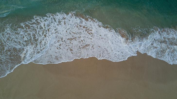 stranden, skum, drone