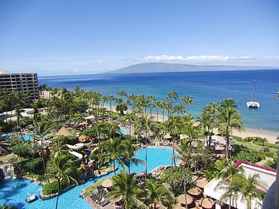 Beach, Resort, Hawaii, Maui, nyaralás, utazás, trópusi