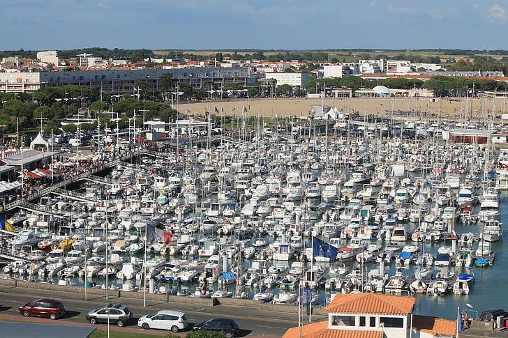 Royan, Charente-maritime, hamn, båtar, båt, Frankrike, stranden