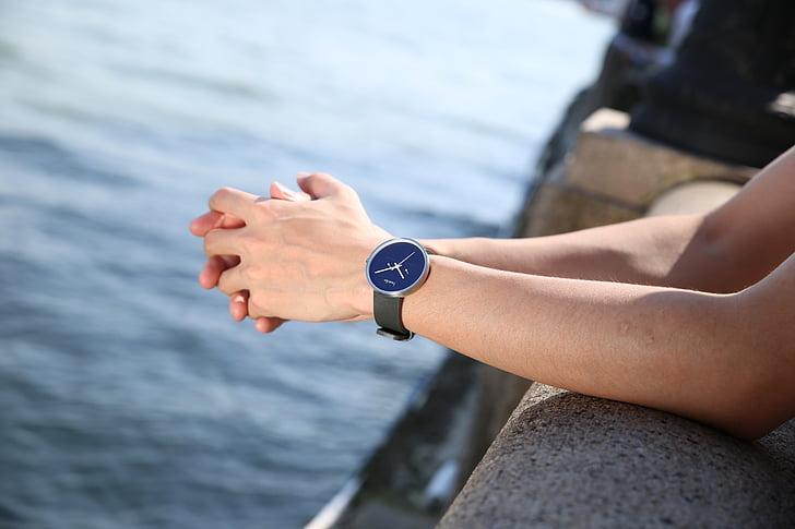 reloj, simple, modelo, mano