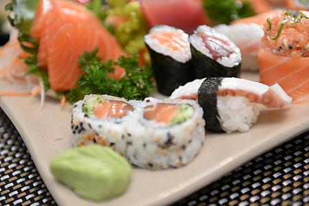Sushi, sashimi, Giapponese, cibo, frutti di mare, pesce, salmone
