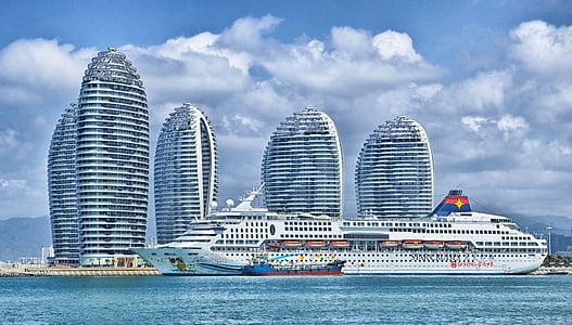 skib, Hainan, Kina, skyline, Ocean liner, HDR, Sky