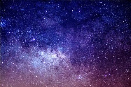 Galaxy, mākslas darbs, zvaigznes, debesis, naktī, vakarā, tumša