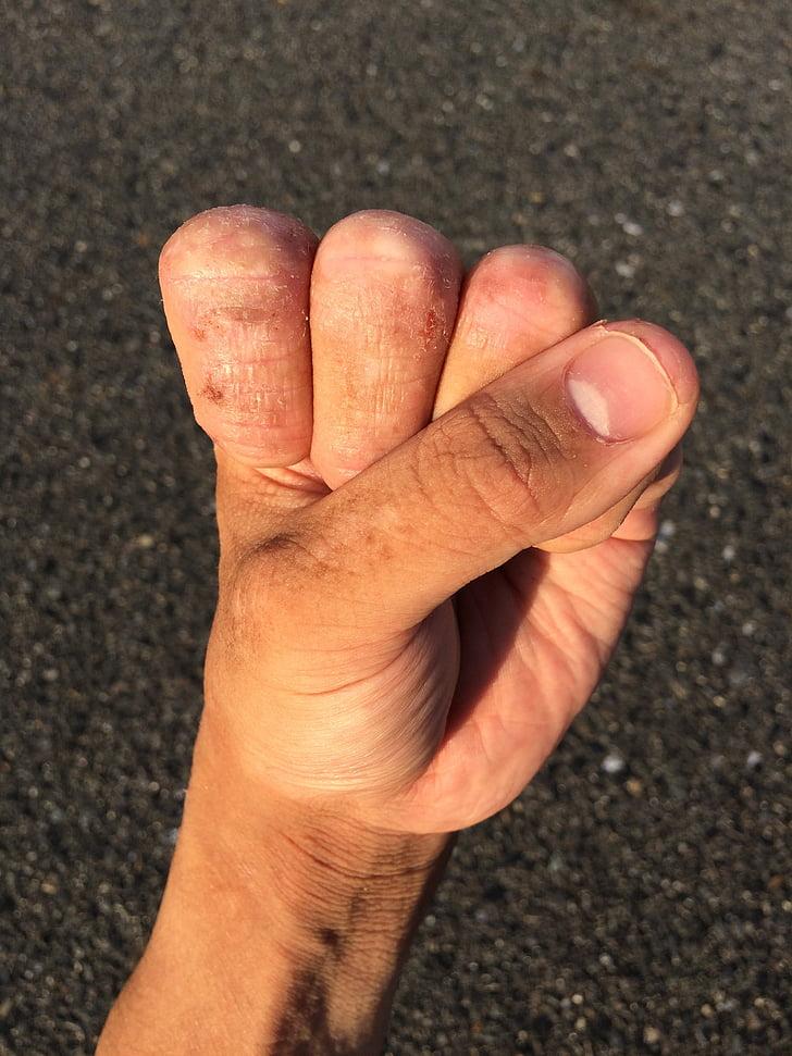 mano, dedo, de uñas, muñeca, pulgar, jóvenes, Japonés