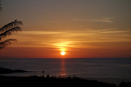 비치, 태양, 바다, 로맨틱, 물, 일몰, abendstimmung