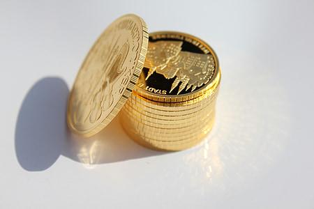 kultakolikoita, metalli, rahaa, kultaa, kolikon
