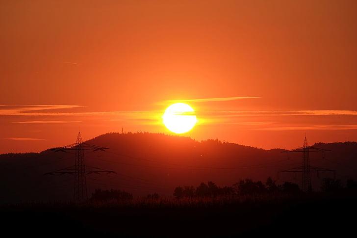solnedgång, försvinner, Horisont, naturen, skymning, siluett, orange färg