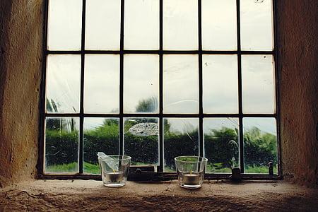 finestra, espelmes, candeler, finestra de vidre, pregària, edifici, decoració