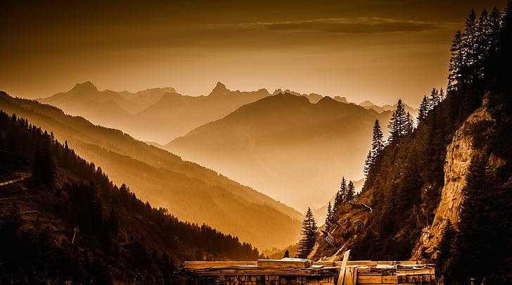 Arlberg pass, paisatge, abendstimmung, crepuscle, posta de sol, silueta, muntanya
