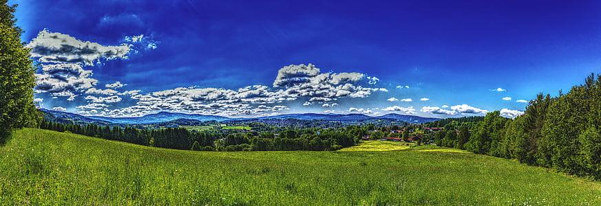 Panorama, Bavarski gozd, gozd, narave, nebo, krajine, hrib