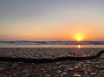 plage, horizon, nature, océan, mer, rive, lever du soleil