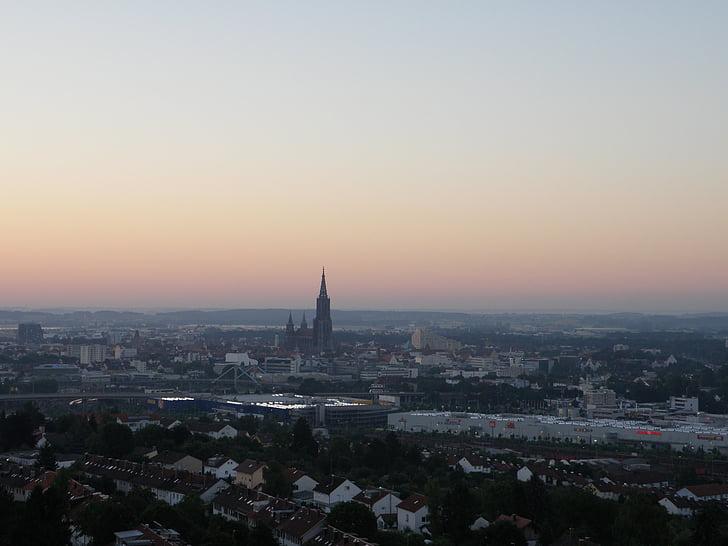 Ulm, nascer do sol, pôr do sol, perspectivas, Münster