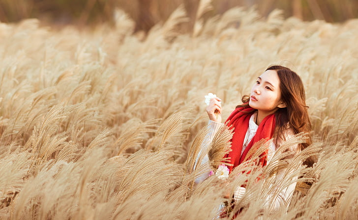 girls, girl with a red scarf, reeds girl, beauty, reed, autumn, warm color