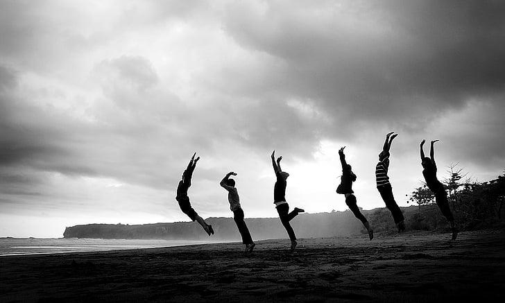 femmes, art, action, gens, à l'extérieur, nature, plage