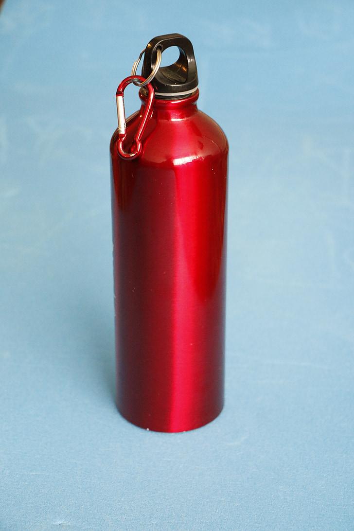 ūdens pudele, sarkans pudeli, ūdens, dzēriens, pudele, veselības, svaigu