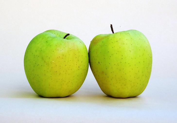 pomme, pommes Golden delicious, fruits légumes, la moitié, aliments, pommes