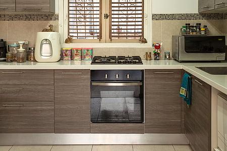 virtuvė, interjeras, viryklė, maisto gaminimas, Butas, Apartamentai, interjero dizainas