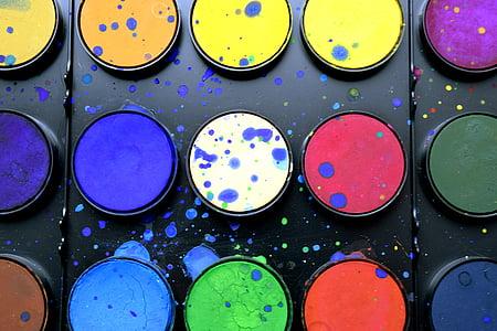 material escolar, pintura, aquarel·la, paleta de colors, papereria, subministraments d'art, Arc de Sant Martí