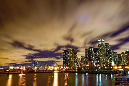 city night, skyscrapers, riverside, city at night, skyline, cityscape, river