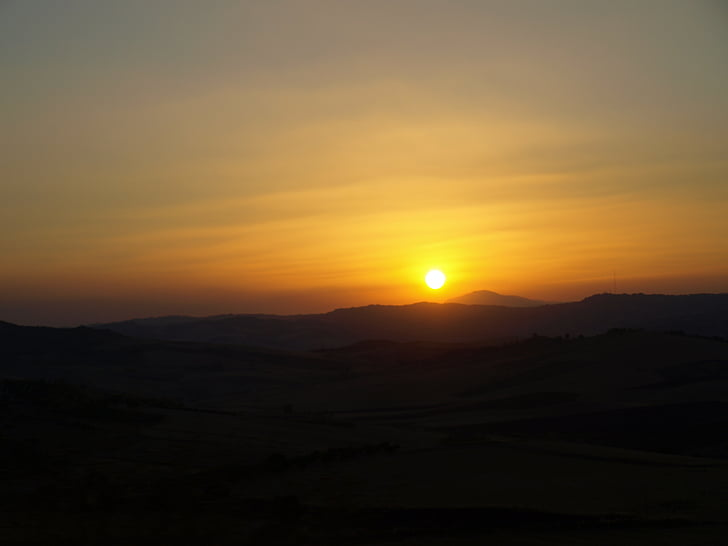 solnedgång, Enna, Sicilien, Barrafranca, naturen, Mountain, skymning