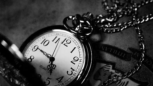 Vintage, kella, must, valge, kaelakee, must ja valge, aeg