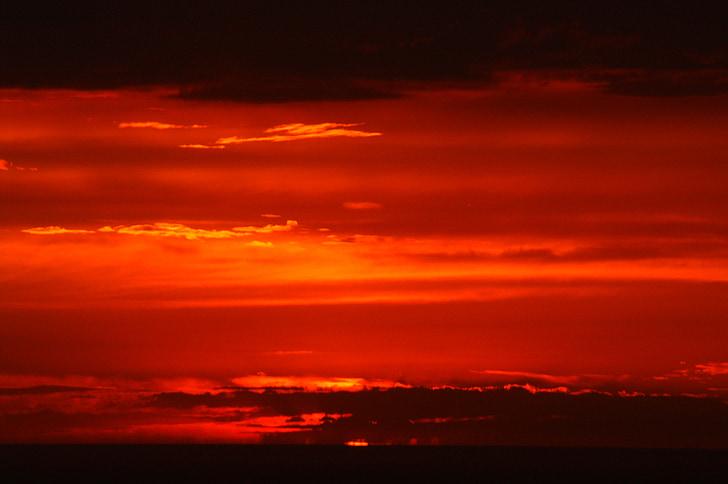 พระอาทิตย์ตก, ท้องฟ้าที่เห็นได้ชัด, สีแดง, สีส้ม, ขอบฟ้า, ทไวไลท์, โกต